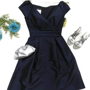 Alfred Sung David's Bridal Navy Satin Dress NWT